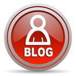 blog red glossy icon on white background